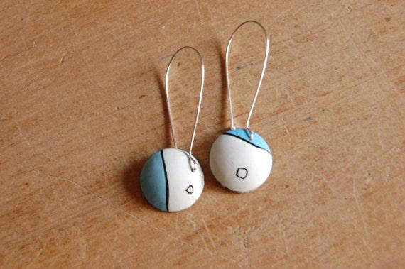 Modern Color Block Circle Earrings