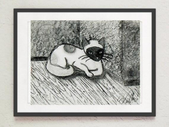 """Drawing - """"Polka Dot Cat"""""""