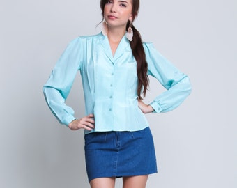 Small / Medium - 70s Blouse - Vintage Aqua Blouse - Silky Blouse - Collared Neckline - Button Down