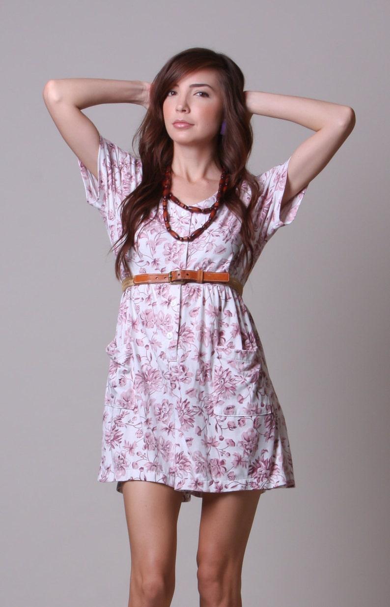 Large 80s Skort Pink and White Jumper with Pockets Vintage Floral Shorts Romper