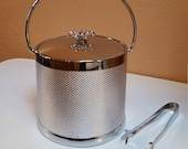 Serv Master Ice Bucket and Tongs, Flower Knob, Handle, Silver Mesh Exterior - Oak Hill Vintage