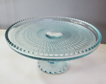 Rim to catch Crumbs Holiday Vintage 1950/'s Jeannette Glass Gold Trim Harp Cake Stand w Red /& Green Crystals FUN Cake Plate