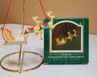 Daughter, Sleigh and Reindeer Hallmark Keepsake Ornament, 1987 Collectible - Oak Hill Vintage