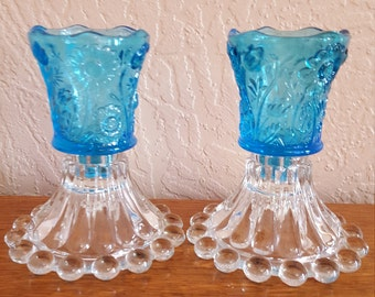 Candlestick Holders with Blue Votive Candle Holders - Oak Hill Vintage