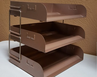 Metal Desk Organizer, Triple File Trays, Flash Filing Stacking Office Trays, In & Out Mail Box - Oak Hill Vintage