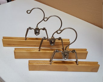 3 Wooden Clamp Hangers, Closet Slacks Organizers, Setwell and Sears - Oak Hill Vintage