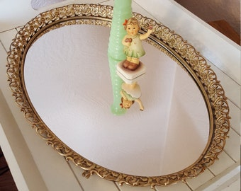 Large Oval Mirrored Vanity Tray With Goldtone Filigree - Oak Hill Vintage