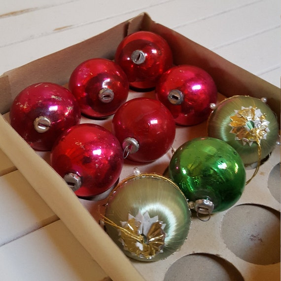 Japanese Christmas Tree Ornaments.9 Small Ornaments In Old Box Made In Japan For Table Top Tree Mercury Glass Satin Oak Hill Vintage