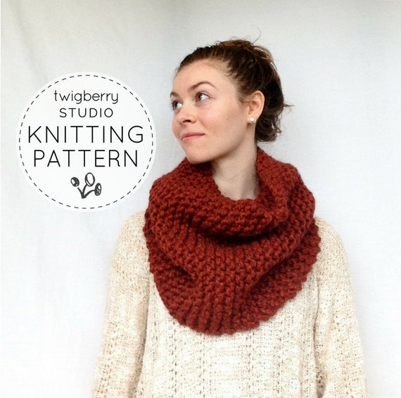 Cowl Knitting Pattern Chunky Cowl Pattern Easy Cowl Pattern Etsy