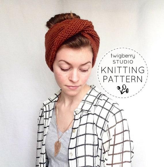 Turban Knitting Pattern Twisted Knit Headband Pattern Twisted Etsy