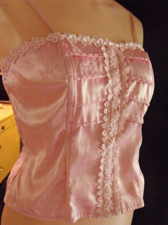 Bustier/Vintage Pink Bustier/Retro Bustier/Vintage