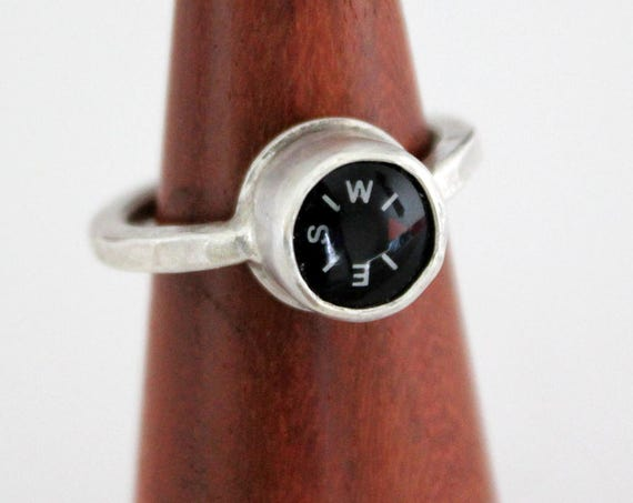 Silver Compass Ring, functional compass handmade in sterling silver