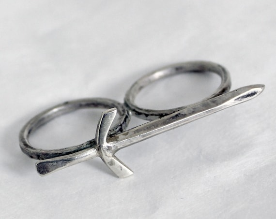 Sword Double Ring, handcrafted two finger ring in sterling silver
