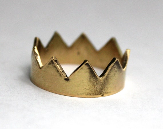 Rustic Gold Crown Ring, handmade in 14K gold