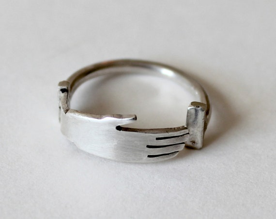 Silver Hand Ring, hand crafted in Sterling Silver