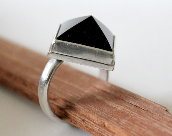 Black Onyx Pyramid Ring handmade in sterling silver