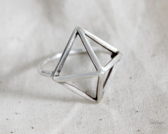Silver Pyramid Ring, handcrafted triangle ring in solid sterling silver