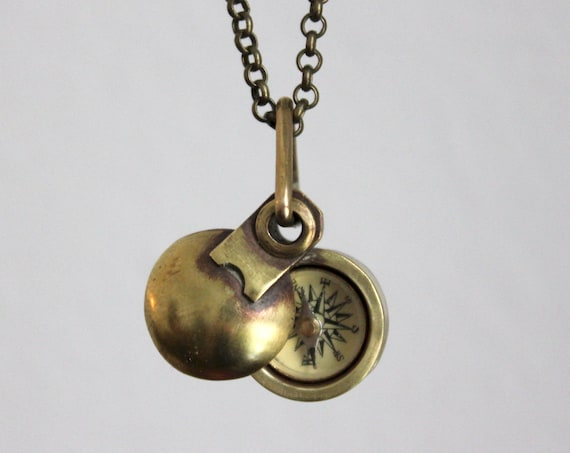 Compass Necklace, handmade in brass