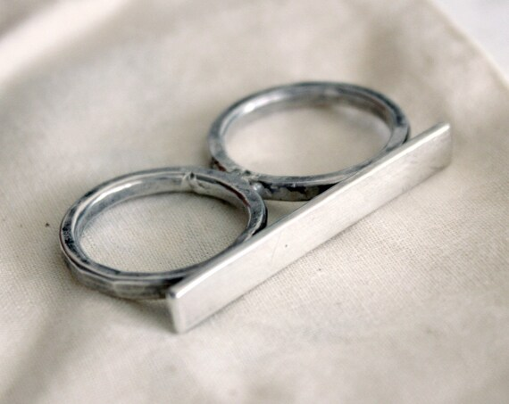 Double Silver Ring / Knuckle duster, two finger ring, Double finger ring, Multi Ring in sterling silver