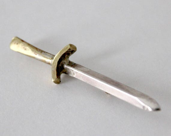 Dagger Pin - handcrafted sword brooch in sterling silver and brass