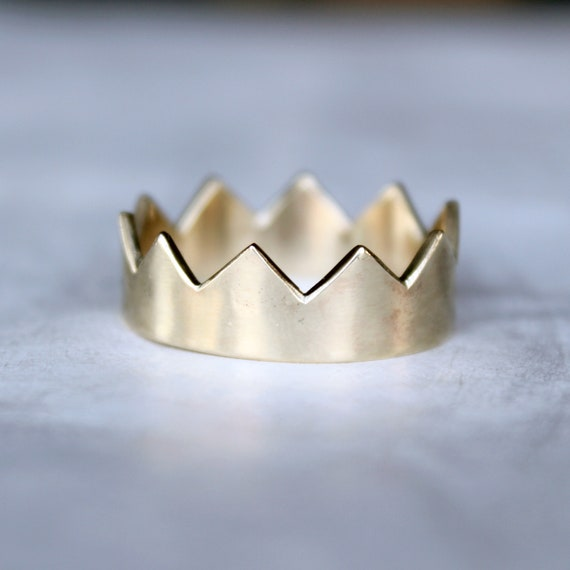 Gold Crown Ring, handmade in 14K gold