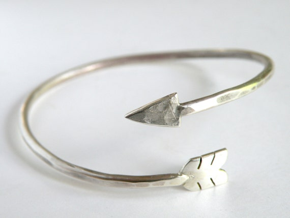 Adjustable Arrow Wrap Bracelet handcrafted in sterling silver