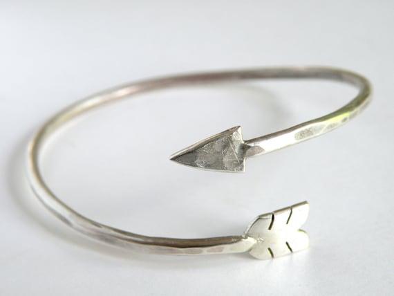 Adjustable Arrow Wrap Bracelet handcrafted in sterling silver
