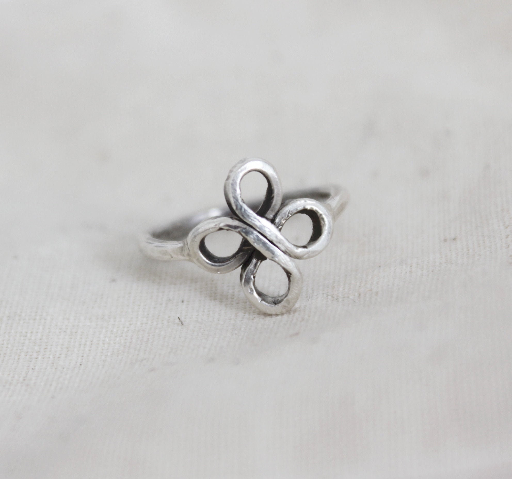 Double Infinity Knot Ring Handmade In Sterling Silver