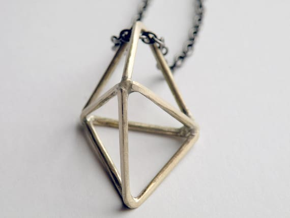 Double Pyramid Necklace, Handcrafted Geometric Crystal in Bronze