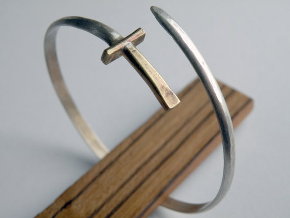 Sword Bracelet, handmade wrap bangle in sterling silver