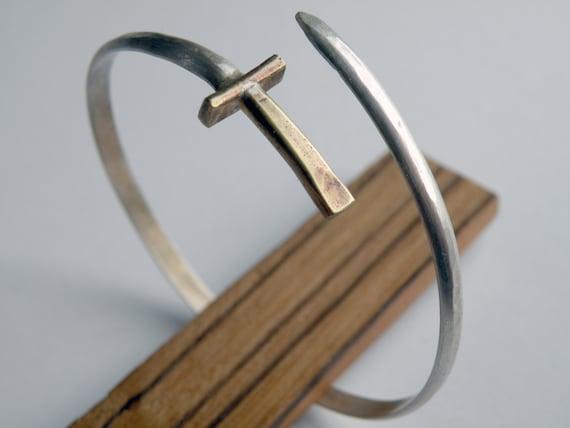 Sword Bracelet, handmade wrap bangle in sterling silver