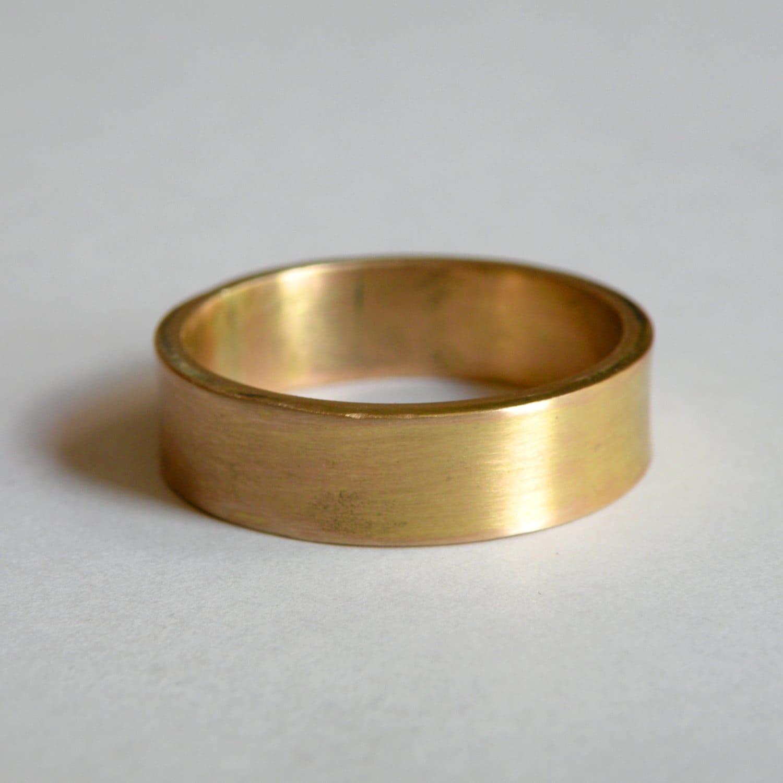 Rustic handmade 14 K gold band custom one of a kind wedding band