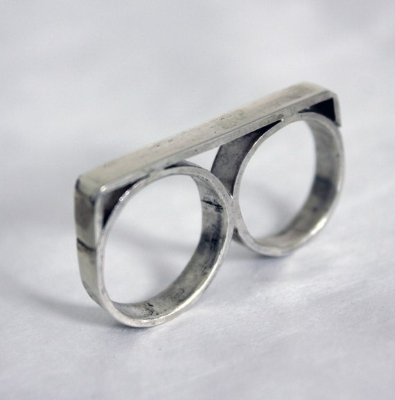 Double Silver Ring, handcrafted two finger ring in sterling silver