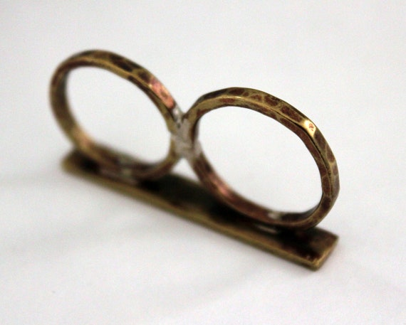 Brass Knucks Ring, two finger ring handcrafted in brass