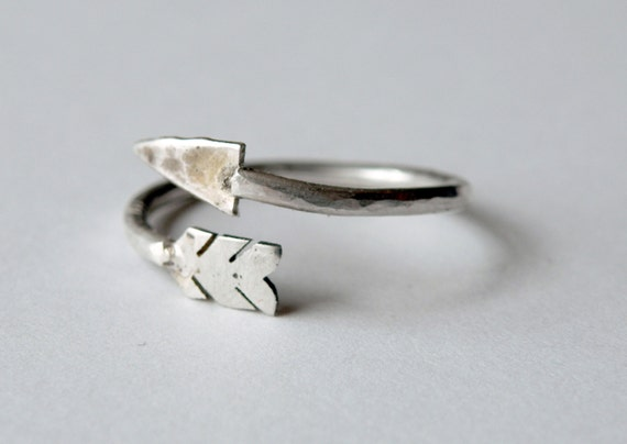 Arrow Wrap Ring handmade in sterling silver