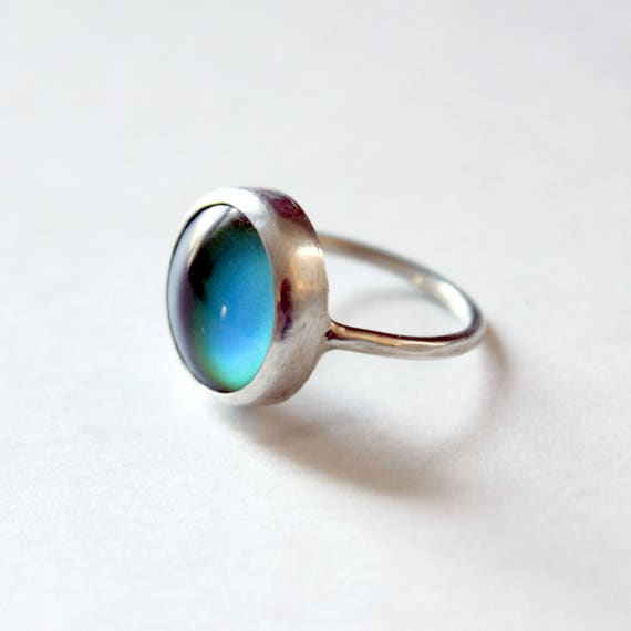 Mood Ring, color changing mood stone, handmade in sterling silver