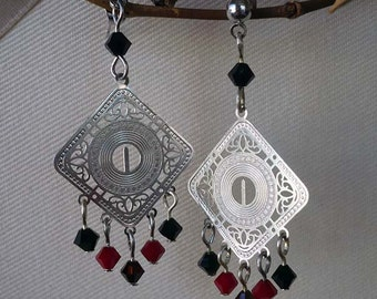 Silver Filigree Chandelier Earrings with red and dark red beads.