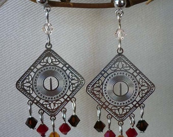 Silver Filigree Chandelier Earrings with Red Beads