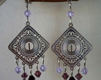 Silver Filigree Chandelier Earrings with Violet Beads