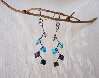 Blue Ombre Crystal Cascade Earrings
