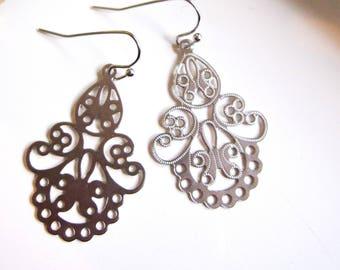 Silver Filigree Earrings, Chandelier Earrings, Dainty, Scalloped Edge, Bohemian, Tribal, Silver Earrings, Moroccan, Redpeonycreations