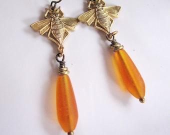 Bee Earrings, Honey Bee Earrings, Long, Bee Jewelry, Bumble Bee, Orange Sea Glass, Botanical, Sea Glass Earrings, Woodland, Gardendiva