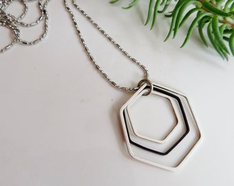 Silver and Black Geometric Necklace, Hexagon, Modern, Minimalist, Geometric Jewelry, Long Necklace, Redpeonycreations