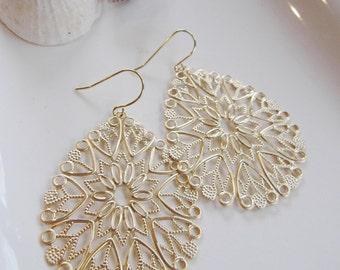 Gold Filigree Earrings, Chandelier Earrings, Large Teardrop Earrings, Bohemian, Gift for her, Modern, Redpeonycreations