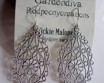 Silver Filigree Earrings, Medium Teardrop, Lacy Design, Oval,  Scalloped Edge, Modern, Everyday