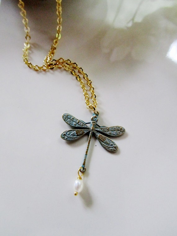 Vintage Bronze Pretty Dragonfly Necklace Boho Jewellery Gypsy Bohemian A062