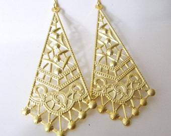 Gold Earrings, Chandelier Earrings, Filigree Tribal Earrings, Indian, Gypsy, Lightweight, Triangle Dangle, Everyday Wear, Redpeonycreations