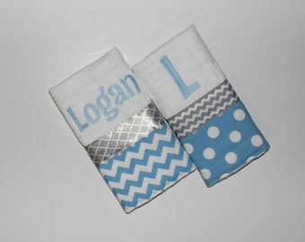 2 Personalized Baby Boy Burp Cloth Set in Light Baby Blue and Gray - Polka Dots and Chevron