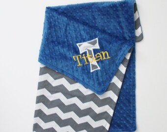 Personalized Baby Minky Stroller Blanket with Embroidery and Applique -Gray Chevron and Royal Blue Minky