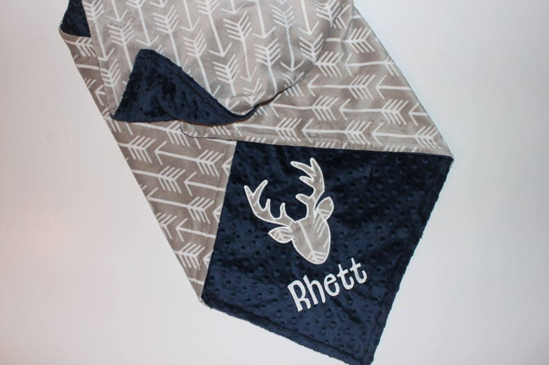 Personalized DOUBLE MINKY Arrows Blanket Or Choose Your Colors Navy Blue White and Gray Blanket or Lovey